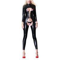 mono talla grande de cuero negro al por mayor-Sexy Faux Leather Jumpsuit Mujer Negro entrepierna abierta PU Leather Jumpsuit con cuerda vinculante Plus Size Pole Dance Rompers