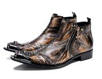 i̇ngiliz stili sivri parmak çizmeleri toptan satış-Lüks İngiliz Stil Metal Perçin Boots Erkekler Biçimsel deri ayakkabı yüksek üst erkek Ayakkabı Sapato Sosyal Masculino Elbise zip ayak erkekler işaret