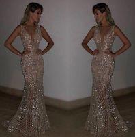 haifa langes kleid großhandel-Frauen Sleeveless Abend-Partei mit tiefer V Sequin dünnen passenden langen Kleid für Cocktailparty formalen sexy elegante Kleider, figurbetontes Kleid
