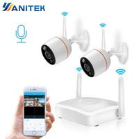 dış mekan kablosuz ev güvenlik sistemleri toptan satış-Yanitek H.265 CCTV Güvenlik Kamera Sistemi HD 1080 P Wifi Mini NVR Kiti Video Gözetim Ev Kablosuz IP Kamera Ses açık