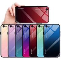 sac encadré achat en gros de-Verre dégradé arrière couverture cas Aurora coloré étui de protection antichoc doux TPU cadre de pare-chocs pour iPhone X XS Max 7 8 Plus avec sac D'OPP