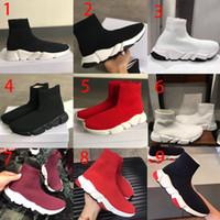 größe 13 sneakers männer großhandel-NEUE Designer Sockenschuhe Hohe Qualität Geschwindigkeit Trainer Sneakers Männer Frauen Trainer Stretch Knit Mid Sneakers Trainer größe 13