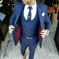 mens blue pants gilet achat en gros de-Bleu marine Groom Wear Mens costumes 3 Pieces (veste + veste + pantalon) costumes pour hommes de haute qualité printemps automne châle revers Blazer Tuxedos