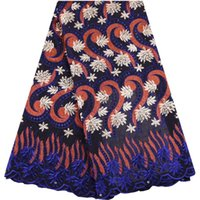 nigerianische baumwollspitze großhandel-Hochwertige Royal Blue Swiss Voile Schnürsenkel Schweiz Stickerei Baumwolle Afrikanische Dry Cotton Lace Stoff Nigerian Voile Lace Y1532