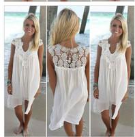 ingrosso abito bianco nero tinto-Abito estivo 2018 Donna Casual Beach Short Dress Nappa Nero Bianco Mini abito di pizzo Abiti da festa sexy Abiti S-XXXL