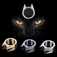 taktische selbstverteidigung ring großhandel-2 stücke Neue Katze ohrform Ring Spikes Knuckle Duster Browken Fenster Anhänger Outdoor Survival Tactical Gear selbstverteidigung Werkzeuge