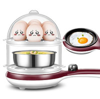 Wholesale frying pan machine for sale - Group buy Manufacturers multi function double layer steamed egg mini small egg cooker automatic power off frying pan three in one breakfast machine