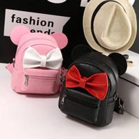 tatlı okul çantaları toptan satış-4 Styles Sırt çantası PU Deri Mini Çanta kız Sırt Çantası Tatlı Bow Fare Kulaklar Genç Kız Sırt Okul Çantası Çocuk Omuzlar Çanta M714
