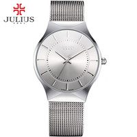 Wholesale luxury watch brand logo resale online - JULIUS Fashion Casual Luxury Watch Top Brand Logo Men s Watch Silver Black Ultra Thin Mesh Full Steel Quartz Waterproof JA