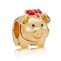 ingrosso gioielli piggy-2019 Gioielli di alta qualità di lusso Pandora dorata Charm Charms Buona fortuna Charm di moneta Pandora Shine Sunshine Beads Piggy Bank Smalto rosso nero