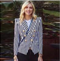 berühmtheiten beiläufige abnutzung großhandel-Schwarz und Dunkelblau Farbe Frauen Casual Slim Coat Striped Schalkragen Slim Jacket Fashion Promi Wear Hohe Qualität