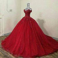 kırmızı quinceanera elbise dantel toptan satış-2019 ışıltılı kırmızı 3d Dantel Aplike Quinceanera Modelleri omuz kapalı Sweet 16 Abiye Tül Abiye Onbeş Yaş Abiye geri dantel