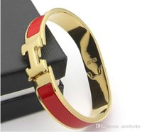 Wholesale h bracelets online - Women s H Bangles Luxury Stainless Steel Enamel charm Bracelets Bangle H Letter Buckle High quality Bracelets