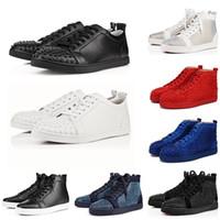 amantes do badminton venda por atacado-cristãoLouboutinVermelhoBottoms Designer Red Bottoms Studded Spikes Sapatos casuais Das Mulheres Dos Homens amantes Do Partido Tênis De Casamento