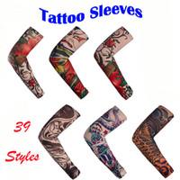 ingrosso stili di tatuaggi per gli uomini-2019 Tatuaggio Temporaneo Senza Falsi Maniche Braccio Body Art Calze Antiscivolo Manicotto Del Tatuaggio Halloween Traspirante per Uomo Donna 39 Stili H513F