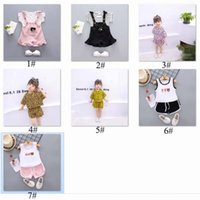 Wholesale chinese outfits for girls for sale - Group buy 2019 Summer Chinese style baby girl clothing striped T shirt tops shorts sports suit for newborn baby girls outfit cool clothes set C52