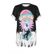 ufo yenilikleri toptan satış-UFO Alien Baskı T Shirt Kadın Harajuku Gevşek Kısa Kollu O-Boyun Eğlence Kadın Üstleri 2019 Yeni Yenilik Tshirt Kadın tarzı