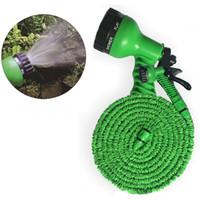 wasserpistole für autowäsche großhandel-100FT verlängern einziehbaren Wasserschlauch Set Kunststoff 2 Farben Garten Autowäsche erweitern Wasserschlauch mit Multifunktionswasserpistole DH0755-3 T03