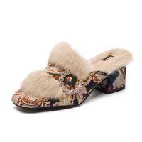 пушистые каблуки оптовых-Ladies  Design Fur Slides Spring Autumn Winter Floral Furry Slippers Women 6cm High Heels Muller Shoes