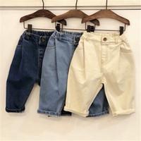 meninos boêmio venda por atacado-Mais novo Queda Crianças Meninos Jeans Denim Calças Tatting Tecido Moda Rugas Projetos Bolsos Do Vintage Cintura Elástica Outono Calças Crianças