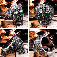 Wholesale rocking ring resale online - Nfn97 Stainless Steel Gothic gold Carving kapala skull mask Ring Biker Hiphop rock Jewelry Unique fashion Gift for men BR8