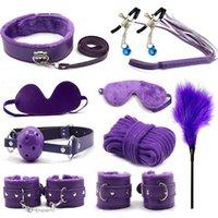brinquedos sexuais para kits femininos venda por atacado-10 em 1 Couro PU SM Escravidão Set Escravidão Restrições Slave Jogo Fetiche Sex Toys 10 Pcs Kit Para Homens e Mulheres