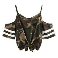 aus schulter kurze ärmel bluse großhandel-Neue Frauen Bluse Shirt Sexy weg von der Schulter Verband lose beiläufige Top armygrün Short Sleeve Crop Bluse