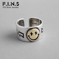 Wholesale sterling cuff wide resale online - F I N S Chic Exquisite S925 Sterling Silver Ring INS Wide Smile Face Ring Personality Korean Fashion Open Cuff Silver