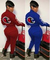 bodysuits completos da luva venda por atacado-Campeões mulheres Jumpsuits macacãozinho cair completos roupas de inverno ginásio sportswear calças leggings bodysuits manga longa botão Cardigan 1244