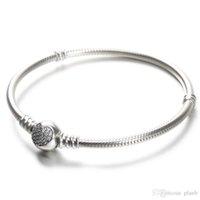 bracelets boîte pandora achat en gros de-100% 925 Femmes bracelets en argent sterling blanc CZ Micro Pavée Bracelet Coeur avec la boîte pour perles Pandora Charms