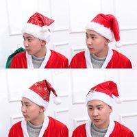 plüschkappen großhandel-Festival Hut Schneeflocke Muster drucken Weihnachtsmann Hüte lange Plüschtuch Weihnachtsfeier Weihnachten Mützen Kappe LJJA2992