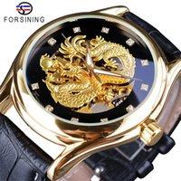 homem de relógio de mão transparente venda por atacado-Forsining Diamante Projeto Homens Relógios de Ouro Dragão de Exibição Mão Luminosa Transparente Top de Luxo À Prova D 'Água Relógio Mecânico Automático