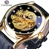 ingrosso uomo trasparente della vigilanza della mano-Forsining Diamond Design Uomo Orologi Golden Dragon Display luminoso a mano trasparente Top Luxury impermeabile automatico orologio meccanico