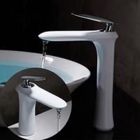 ingrosso eleganti maniglie bianche-Rubinetto lavabo moderno bianco / nero Miscelatore da bagno Rubinetto in ottone rubinetto singolo manico singolo foro elegante per bagno