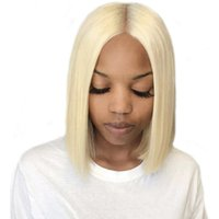 doğal saçlar 613 toptan satış-613 sarışın bob Dantel Ön Peruk Doğal Düz Brezilyalı İnsan Saç Dantel Frontal Peruk Brezilyalı 613 düz bakire saç