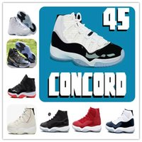 hot sale online f359b 39a52 Avec la boîte 11 11s concord 45 Bred XI Platinum Teinte Chaussures de  basket Gym Red Prom Night Win Comme 96 82 MensWomens Sports Sneakers 378037 -100
