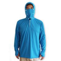 ropa de protección solar al por mayor-Ropa de pesca azul Protección solar Anti-UV Ropa deportiva al aire libre Poliéster Hombres Transpirable Tela de secado rápido Camisa anti mosquitos