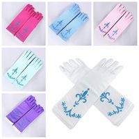 Wholesale cover girl hand online - 6 Colors Kids Princess Printing Long Gloves Length Costume Dress Baby Girls Fashion Long Hands Cover Gloves IIA81