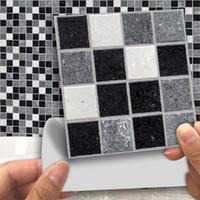 buzlu etiket toptan satış-18 adet / takım Mozaik Duvar Çıkartmaları Su Geçirmez Kiremit Çıkartmalar Çıkarılabilir Duvar Sticker DIY Buzlu Yüzey Çıkartmalar Banyo Dekorasyon Ev Dekor
