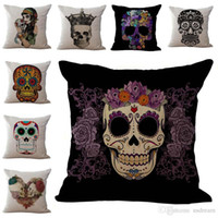 Wholesale hospital beds resale online - Skeleton Sugar skull Pillow Case Cushion cover Linen Cotton Throw Pillowcases Home Decor sofa Bed Pillow covers Drop ship PW369