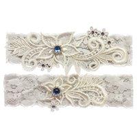 gelin hatıra toptan satış-Düğün Gelin Dantel Jartiyer Set Keepsake Toss Gelenek Weding Partisi için Vintage Bir Şey Mavi