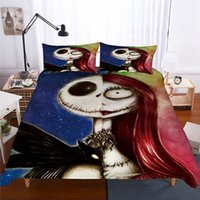 Wholesale queen size skull bedding sets for sale - Group buy 3D Bedding Set Queen Size Nightmare Before Christmas Bedding Skull King Size Duvet Cover Sets with Pillowcase Cover