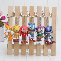 Wholesale hedgehogs dolls online - 6cm Sonic the Hedgehog action figures Toy PVC toy Sonic Characters figure toys brinquedos Doll set keychain pendant gift kids toys
