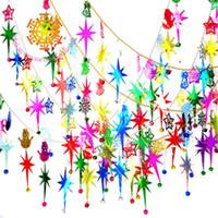 christmas stars para venda venda por atacado-Novo Padrão Bead Natal Cadeia Árvore de Natal Decoração Ornamento de suspensão Pentagonal estrela de sino Originalidade Pingente Hot Sale 15 75txH1