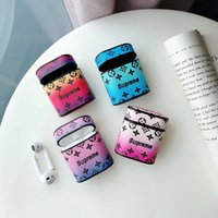 Wholesale color carabiner hook for sale - Group buy Flower Print Leather Pouch Bag Graident Color Holster Protective Shell for Airpods Wireless Earphone with Hook Carabiner Shockproof