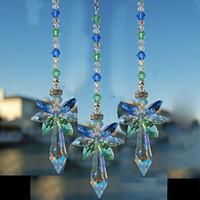 ingrosso ornamenti di cristalli-10pcs cristallo angelo suncatcher pendente appeso angelo fatto a mano ornamento decorazione di nozze auto appeso decor ornamento wz13