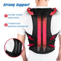cintos magnéticos para dor nas costas venda por atacado-Magnetic Bar Posture Corrector BracesSupport Back Pain Belt Brace Shoulder For Men Women Health Care ajustável Postura Banda