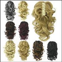 cheveux blonds bouclés synthétiques achat en gros de-8 Couleur Bouclés Haute Température Fibre Synthétique Cheveux Queue En Poupée En Pièce Blonde Gris Clip
