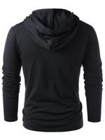 deri kollu sweatshirtler toptan satış-Erkekler Faux Deri Lace Up Hoodie Yeni Stil Moda Yeni Cadılar Bayramı Erkekler İpli Hoodie Kazak Kazak Tam Kollu Ücretsiz Kargo