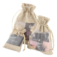Wholesale small drawstring bags resale online - One side window linen pouch cosmetic jewelry small gift pouches Environmentally friendly drawstring beam mouth bag Yarn and linen bag